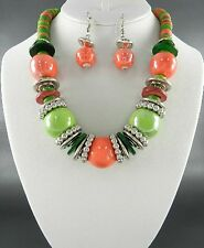 Green And Coral Ceramic Bead And Coco Wooden Bead Silver Tone Necklace Earring