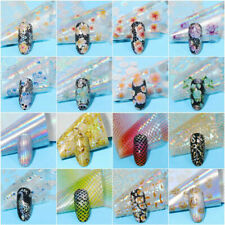 16 Pcs Lot Nail Foils Holographic Flower Laser Mixed Transfer Sticker Decals