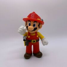 Super Mario Odyssey Firefighter Mario Plastic Figure Mario Maker Doll Toy 5""