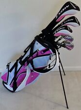 Ladies Left Hand Complete Golf Set Lady Driver Wood Hybrid Irons Putter Bag Pink