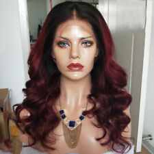 Ombre Burgundy 5X5 PU Silk Top Wig Body Wavy Lace Closure Human Hair Wigs Red
