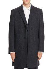 $1800 HUGO BOSS Men BLACK BLUE WOOL PEACOAT COAT TOPCOAT DRESS SPORT JACKET 44 R