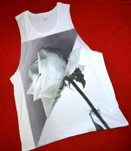 """All Saints Graphic """"Zonen raw vest"""" White T-Shirt Top Vest L Large White"""