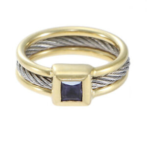 Charriol 18k Yellow Gold Stainless Steel Amethyst Band Ring 14k Yellow Gold