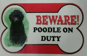 Poodle Beware of the dog sign 12cm x 21cm