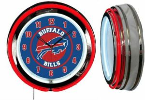 """Buffalo Bills 19"""" RED Neon Clock Man Cave Game Room Football Red Numbers"""