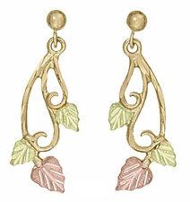Ladies Dakota Black Hills Gold 10K Vines w 3 Leaves Stud Earrings KE 034