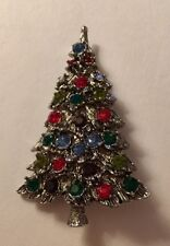 Green Crystal Christmas Tree Pin Great Texture Silver Plate Blue Red
