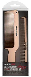 Babyliss Pro Barberology ROSEFX Metal Comb Set Rose Gold for Professional Barber