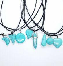 x8 Blue Turquoise Pendant Point Cut Quartz Rope Necklace Healing Stone Gift Set