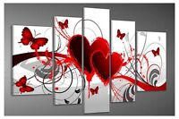 Abstract Hand Paint Oil Painting Canvas Art Pic Home Decor Red Heart Love Gift