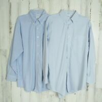 LOT OF 2 Brooks Brothers Dress Shirts 17-33  Slim Fit Non-Iron Button Down Blue