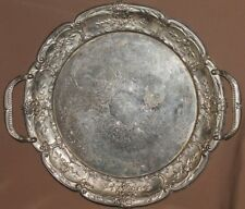 Antique ornate floral silver plated serving tray