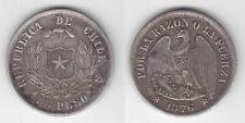 CHILE - RARE SILVER 1 PESO VF COIN 1876 YEAR KM#142.1