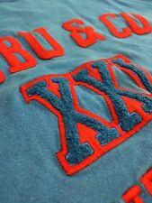 Fubu Mens Big Logo Short Sleeve Blue Shirt Vintage 90s XXL