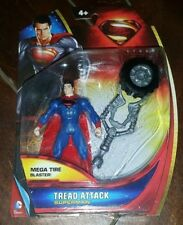 "Superman Man of Steel: TREAD ATTACK SUPERMAN 4"" Figure w/Mega Tire Blaster!"