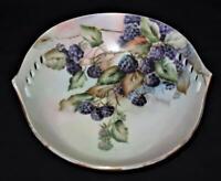 "Hand Painted Signed Elise Olson BLACKBERRIES Pierced Decorative Bowl, 8 1/4"""