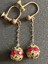 Back Drop Dangle Clip On dangly Vintage Art Nouveau Earrings Silver Tone Screw