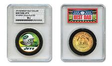 NEW YORK JETS #1 DAD Licensed NFL 24KT Gold Clad JFK Coin in Slabbed Holder