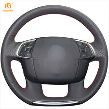 Black Genuine Leather Steering Wheel Cover Wrap for Citroen C4 C4L 2011-2015 DS4