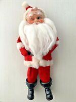 "Vintage Christmas Winking Santa Claus Felt Chenille Fuzzy Beard 14"" Rubber Face"