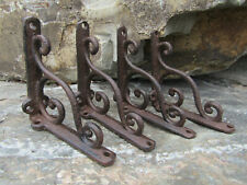 """Set of 4 New Cast Iron 4"""" Small Shelf Brackets Antique-Style Rustic Wave Scroll"""