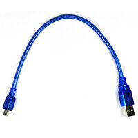 Blue Short USB 2.0 A Male to Mini 5 Pin B Male Data Charging Cable - 30CM 1FBDC
