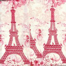VALENTINE Eiffel tower Paris France PINK red handmade ribbon 3.5 wide 751