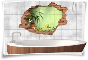 Fliesenaufkleber Fliesenbild Wanddurchbruch Aufkleber Wellness Entspannung Zen