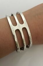 Beautiful Vintage H. Pozzo Designer Signed  Sterling Silver Cuff Bracelet (Y175)