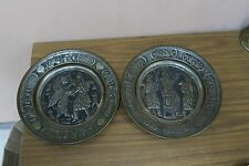 Set @ 2 Vintage Islamic Ethnic Persepolis Kings Tinned Copper Tray Wall Plate