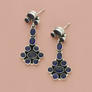 blushed sterling silver tanzanite cluster dangle post earrings