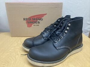 Red Wing Black Leather Mens Lace Up Boots