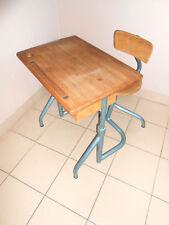 Bureau et Chaise Enfant Design Déco École Loft Vintage 50 60 ecolier BOIS METAL