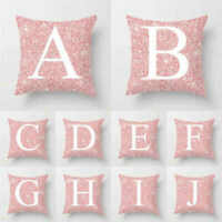 18x18inch Sequin Cushion Cover Pink Letter Polyester Pillowcase Home Decor