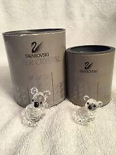 Swarovski Large & Small Koala Bear Figurine #7673 NR 40 & 30 Full Lead Crystal