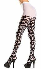 Tribal Print Pantyhose Wave Pattern Tights Costume Hosiery Black White BW681