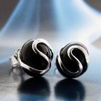 Onyx Silber 925 Ohrringe Damen Schmuck Sterlingsilber S0180
