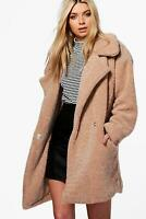 Tan Teddy Bear Coat Sherpa Jacket Tunic Cardigan Sweater Women's Plus Size 2XL