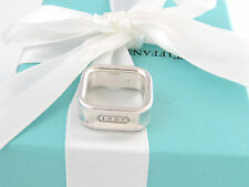 AUTH TIFFANY & CO SILVER 1837 SQUARE CUSHION  RING SIZE 5 POUCH