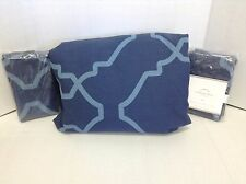 Pottery Barn Trisha Bed Duvet Cover Cal King 2 Euro Shams Blue Navy Geometric