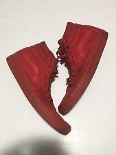 Vans Sk8-Hi Mono Solid Skate Shoes Mens Size 10 Canvas Triple Red High Top EUC