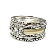 Bangle Set Stack Bangles Amrita Singh 9pc Silver Plated Threaded SP-BA8962-W