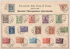 FIUME 1918 - 1919 RIJEKA ALLEGORIE E GIORNALI 17 VALORI SU FOGLIO € 936,00