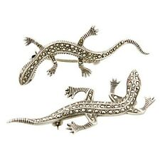 Two (2) Vintage Sterling Silver Marcasite Decorated Lizards, Gecko Brooches