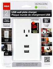 NEW White RCA USB Wall Plate Charger 2 USB Ports 1 AC Power Port iPhone Android