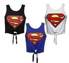 L165 Women Ladies Sleeveless Superhero Superman Logo Print Tie Front Crop Top
