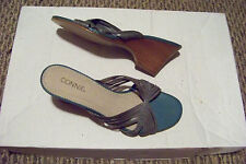 womens connie make a wish gray strappy leahter wedge heels shoes size 9