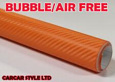 3D Fibre De Carbone Orange 0,1 M (3.9) dans.52 m x1 (59,8 je) véhicule wrap autocollant film vinyle