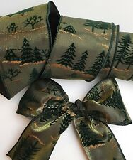 Christmas wire edged ribbon luxurious detail 1m